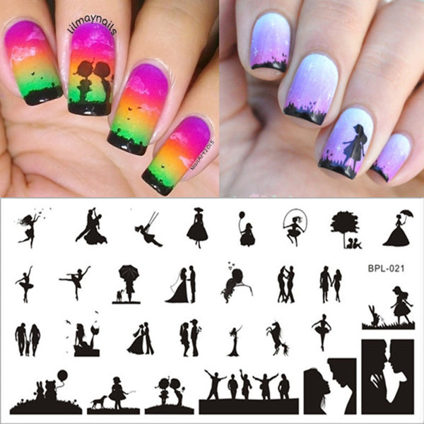 Newly 1 Pc BORN PRETTY BP-L021 Love Couple Pattern Nail Art Stamp Template Image Plate 12.5 x 6.5cm - Hespirides Gifts