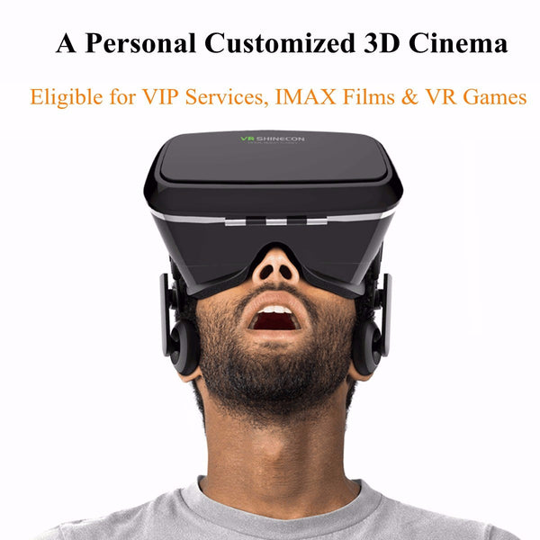 Original SHINECON Virtual Reality 3D Movie Game Viewing Headset Glasses VR Box 3.5 to 6.0'' with Remote Controller for Phone Tab - Hespirides Gifts