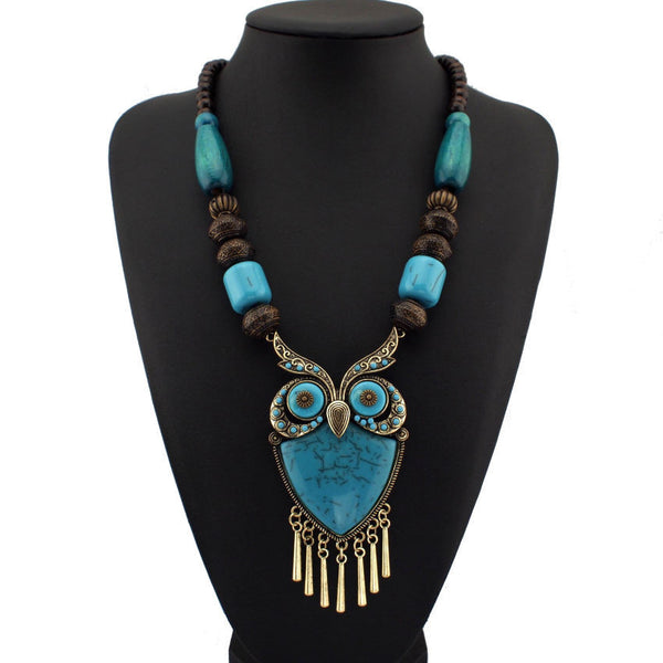 Fashion Tibetan Style Women Statement Necklaces Wood Chain Turquoise Big Owl Necklaces & Pendants Boho Jewelry Maxi Dress CE1272 - Hespirides Gifts - 2