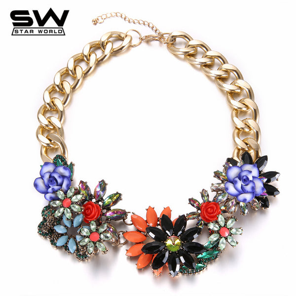STARWORD womens choker maxi necklace Fashion Luxury Rainbow Choker brand Jewelry Vintage chain necklace For Ladies - Hespirides Gifts
