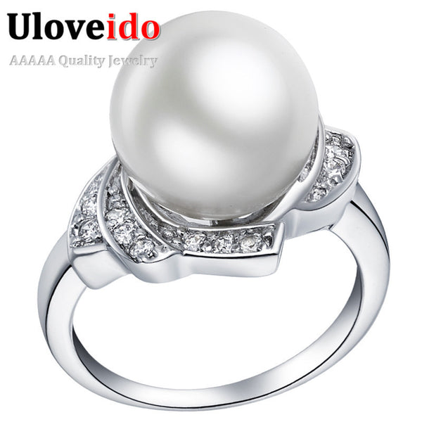 Silver Rings for Women Simulated Pearl Ring CZ Diamond Jewelry Vintage Crystal Anillos Valentine's Day Bijoux Retro Anel J383 - Hespirides Gifts