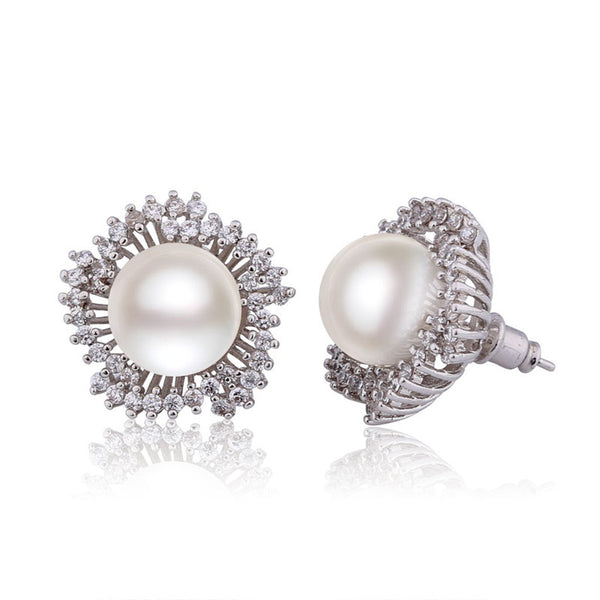 MOLIAM New Arrival Stud Earrings for Women Beauty Crystal Zirconia Earing with Big Simulated Pearl Jewelry Boucle D'oreille E516 - Hespirides Gifts - 3