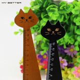 Creative Wood Straight Ruler Black Yellow 2 Colors Lovely Cat Shape Ruler Office Supplies Gift for Kids School Supplies15cm - Hespirides Gifts - 1