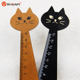 Creative Wood Straight Ruler Black Yellow 2 Colors Lovely Cat Shape Ruler Office Supplies Gift for Kids School Supplies15cm - Hespirides Gifts - 2