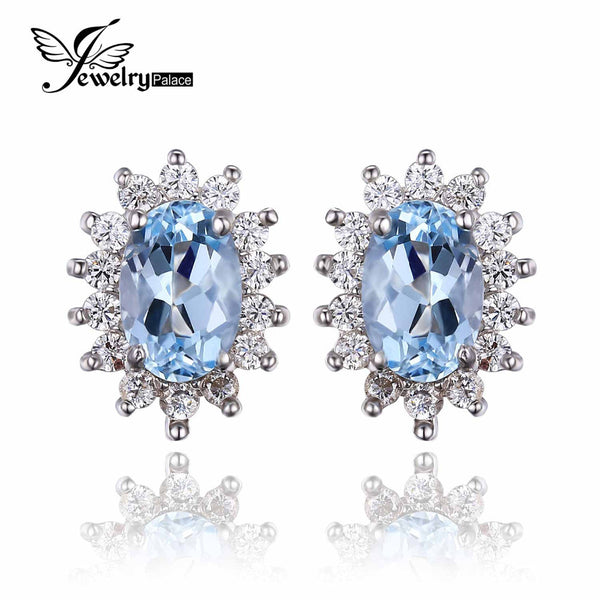 Classic Princess Diana Natural Blue Topaz Stud Earrings Genuine 925 Sterling Silver Fine Jewelry For Women Fashion Earrings - Hespirides Gifts