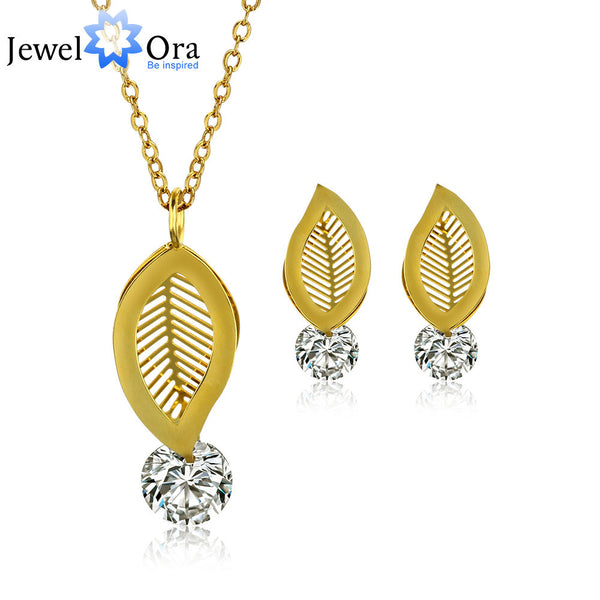 Fashion Gold Plated Leave Shape Stainless Steel Cubic Zirconia Party Jewelry Sets For Women (JewelOra JS100551) - Hespirides Gifts