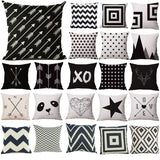 Pillow Case Black and White Pattern Pillowcase Cotton Linen Printed 18x18 Inches Geometry Euro Pillow Covers - Hespirides Gifts - 1