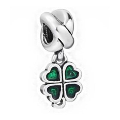 NEW Jewelry Silver plated green Bead Charm Flower Silver Bead with Crystal Fit Pandora Bracelet - Hespirides Gifts