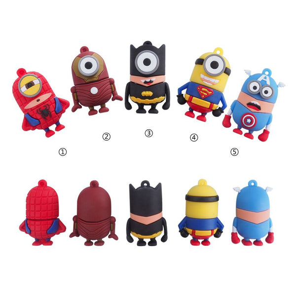FULL capacity super hero usb flash drive 32GB 8GB 16GB 64GB 4GB minions super pen drive Bat man Memory Stick usb2.0 flash momory - Hespirides Gifts