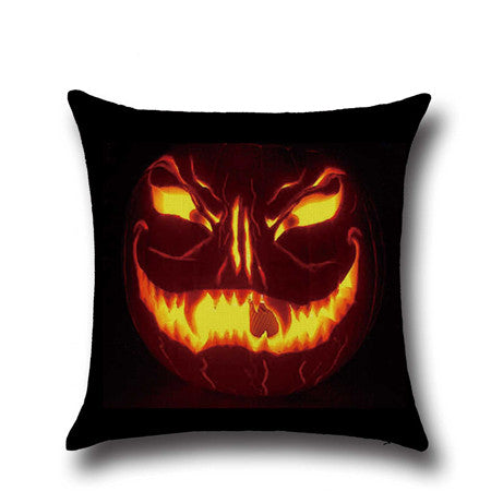 New Halloween Jack-o-lanterns Sofa Cushion Cover Pumpkin Lantern Home Decorative Pillowcases Cushion Case For Car Chair U0039 - Hespirides Gifts - 3