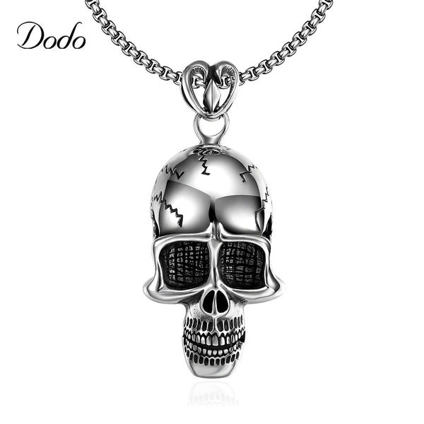 Europe Stainless Steel Rock Style Fashion chain Vintage accessories steam punk Chain Skull Pendant Necklaces For Mens DNE0016