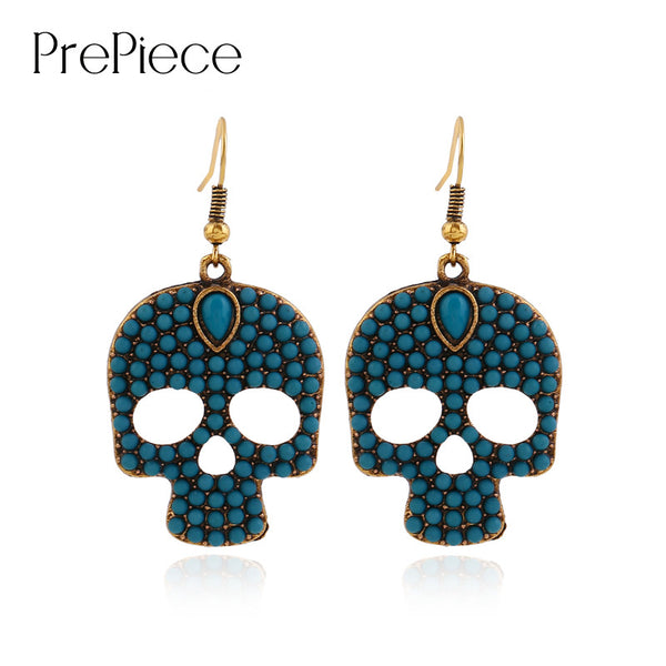 PrePiece Retro Skull Shaped Gold Plated Beads Dangle Drop Earrings 2016 New European Fashion OL Jewelry For Women Brincos PE0400 - Hespirides Gifts