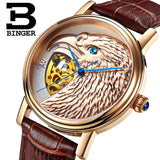 Halloween Watches Eagle Pattern Switzerland Luxury Brand Watch Automatic Mechanical Men Watches Rose Gold Dial Hand-Carved - Hespirides Gifts - 1