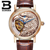 Halloween Watches Eagle Pattern Switzerland Luxury Brand Watch Automatic Mechanical Men Watches Rose Gold Dial Hand-Carved - Hespirides Gifts - 4
