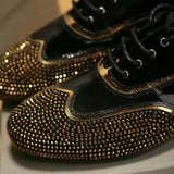 men luxury Inlay rhinestone shoes designer brand Genuine Leather dress shoes Gold Maximum size 44 Black men casual driving shoes - Hespirides Gifts - 1
