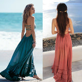 Summer Beach Dress Sexy Boho Chic Dresses Bohemian People Dress Bandage Long Blackless Cotton Women Party Hippie Vestidos Mujer - Hespirides Gifts - 1
