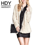 HDY Haoduoyi Autumn Winter Women Fashion Solid White Casual Faux Fur Long Sleeve Coat Loose Zipper Pockets Crew Neck Coat - Hespirides Gifts - 1