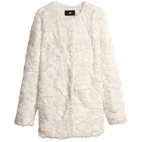 HDY Haoduoyi Autumn Winter Women Fashion Solid White Casual Faux Fur Long Sleeve Coat Loose Zipper Pockets Crew Neck Coat - Hespirides Gifts - 2