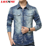 LONMMY Denim shirts camisa masculina mens floral shirts Long Sleeve jeans shirt men Cowboy Casual clothes Flower Print New - Hespirides Gifts - 1