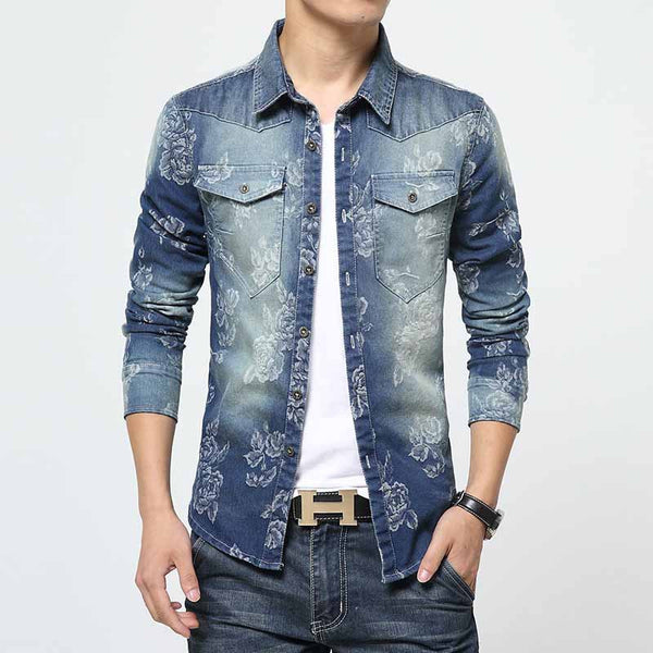 LONMMY Denim shirts camisa masculina mens floral shirts Long Sleeve jeans shirt men Cowboy Casual clothes Flower Print New - Hespirides Gifts - 2