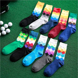 Male Tide Brand Happy Gradient Color Paragraph summer Style Pure Cotton Men's Knee High Business Socks WZ042