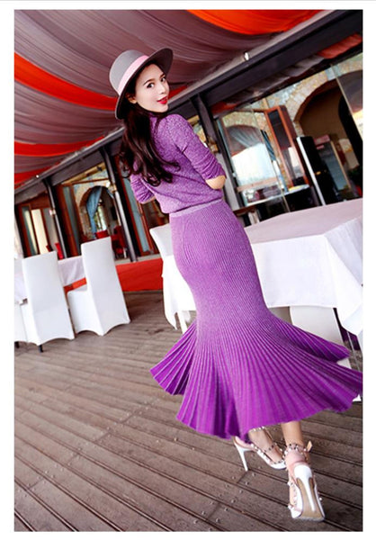 Brand Autumn Winter Sexy Slim Warm Mermaid Two Piece Sweater Dress Women Casual Long Sleeve Party Solid Stand Dress Purple - Hespirides Gifts - 2
