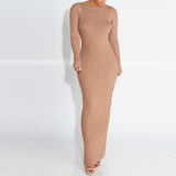 Women Elegant Sexy Bodycon Knitted Long Maxi Split Slim Stretch Dress Plus Size