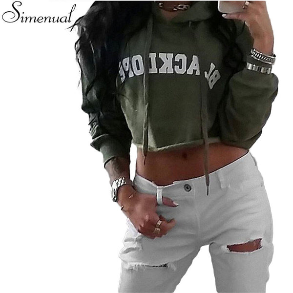 Harajuku vintage short hoody crop top autumn fashion letter print green women hoodies sweatshirts female hooded sweatshirt - Hespirides Gifts - 2