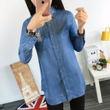 Women's Denim Shirt For Autumn Korean Casual Pocket Embroidery Kitten Jeans Blouses Long Sleeve Denim Blouse Female Shirts - Hespirides Gifts - 1