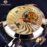 Forsining Golden Luxury Corrugated Designer Mens Watches Top Brand Automatic Luxury Small Dial Diamond Display Skeleton Watch - Hespirides Gifts - 1