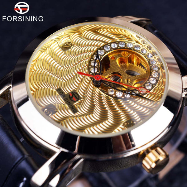 Forsining Golden Luxury Corrugated Designer Mens Watches Top Brand Automatic Luxury Small Dial Diamond Display Skeleton Watch - Hespirides Gifts - 2
