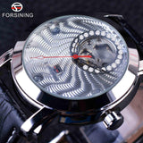 Forsining Golden Luxury Corrugated Designer Mens Watches Top Brand Automatic Luxury Small Dial Diamond Display Skeleton Watch - Hespirides Gifts - 3