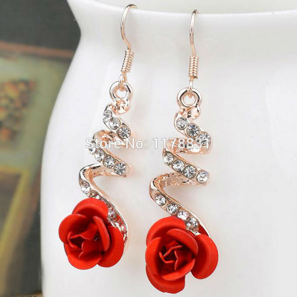 Top Sale Korea Fashion Lovely Temperament  Crystal Red Rose Flower Women Dangle Drop Earrings for Wedding/Party - Hespirides Gifts
