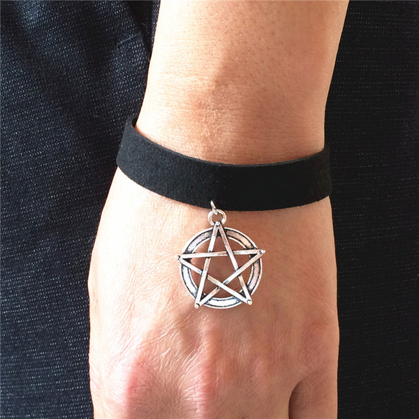 Hot new DIY Bijoux Plain Black Velvet Ribbon Vintage Unlimited Five-pointed star pendant Bangle Bracelet Women and Men jewelry - Hespirides Gifts