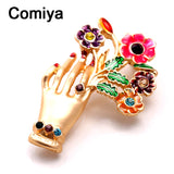 Comiya handmade jewelry friendship fashion gold color zinc alloy multi color epoxy hand & flowers charm brooches for lady brooch - Hespirides Gifts - 1