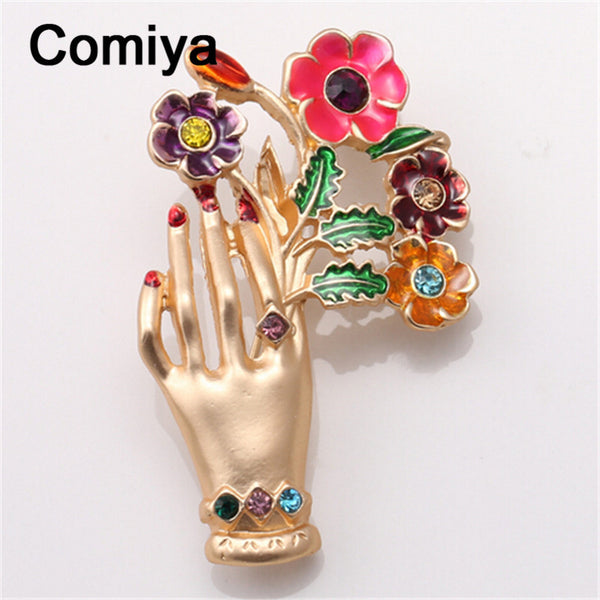 Comiya handmade jewelry friendship fashion gold color zinc alloy multi color epoxy hand & flowers charm brooches for lady brooch - Hespirides Gifts - 2