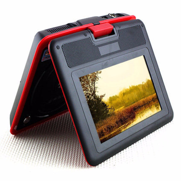 Red 9.8 Inch LCD TV Mini Digital Mobile TV Portable Rotating Screen DVD EVD Player TV VCD CD MP3/4 USB Game TV US / EU Plug - Hespirides Gifts