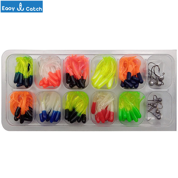 Easy Catch 110pcs Soft Lures Jig Head Hooks Set Long Tail Smell Worms Bait Artificial Jigging Lure Lead Head Hook Set With Box - Hespirides Gifts