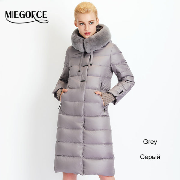 Women Down Coat Jacket Medium Length Woman Down Parka with a Rabbit Fur Winter Coat Women MIEGOFCE New Winter Collection - Hespirides Gifts - 2