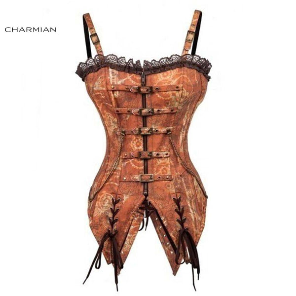 Charmian Vintage Steampunk Corset Steel Boned Lace Trim Zipper Overbust Corset Corselet Espartilhos for Women with Chains - Hespirides Gifts - 2
