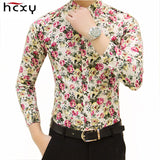 HCXY new fashion spring flower shirts for men casual designer large size men floral shirts camisas masculinas social - Hespirides Gifts - 1