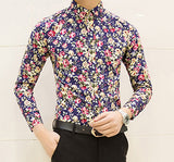 HCXY new fashion spring flower shirts for men casual designer large size men floral shirts camisas masculinas social - Hespirides Gifts - 4