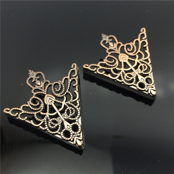 Fashion 1 Pair Women Lady Crown Hollow Pattern Shirt Collar Brooch Pin Jewelry Gift Golden Bronze - Hespirides Gifts - 3