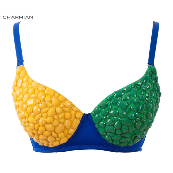 Charmian Women's Funky Bra Top B Cup Brazil Flag Color Gem Rave Bra Nightclub Party Bra Crop Top Corset and Bustiers - Hespirides Gifts - 2