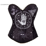 Charmian Sexy Steampunk Halloween Corset for Women Vintage Rock Overbust Corset Sugar Skull Egypt Style Printed Costume Bustier - Hespirides Gifts - 5