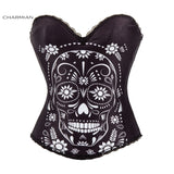 Charmian Sexy Steampunk Halloween Corset for Women Vintage Rock Overbust Corset Sugar Skull Egypt Style Printed Costume Bustier - Hespirides Gifts - 6