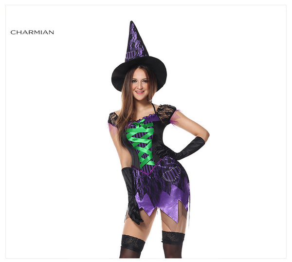 Charmian Cutie Witch Halloween Cosplay Costume for Women Carnival Adult Dress Costume Fantasias Feminina Para Festa - Hespirides Gifts - 2