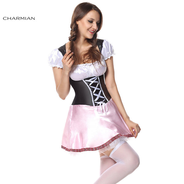 Charmian Plus Size Beer Garden Girl Oktoberfest Halloween Costume for Women Sexy Maid Mini Dress Costume Fantasias - Hespirides Gifts - 2
