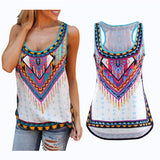 S-5XL! Autumn Women Tank Tops Sexy Boho Tribe Print White Slim Shirt Big Plus Size Ladies Sleeveless Tops Blusas 40520 - Hespirides Gifts - 1