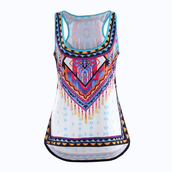 S-5XL! Autumn Women Tank Tops Sexy Boho Tribe Print White Slim Shirt Big Plus Size Ladies Sleeveless Tops Blusas 40520 - Hespirides Gifts - 2